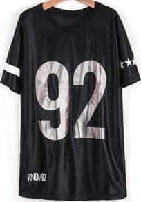 Black Short Sleeve RENOWNED 92 Print Loose T-Shirt