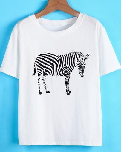 White Short Sleeve Zebra Print Loose T-Shirt