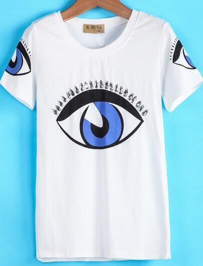 White Short Sleeve Eyes Print T-Shirt
