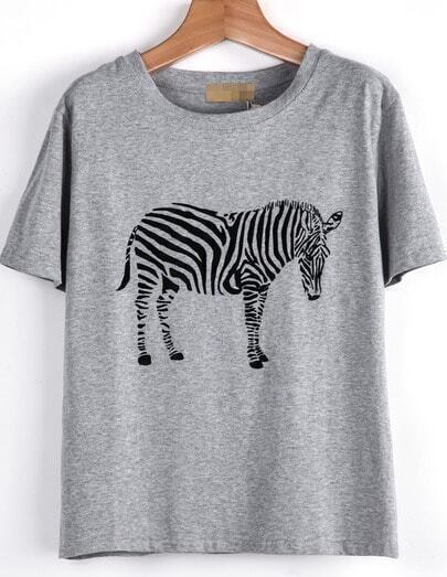 Grey Short Sleeve Zebra Print Loose T-Shirt