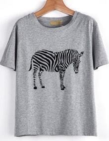 Grey Short Sleeve Zebra Print Loose T-Shirt