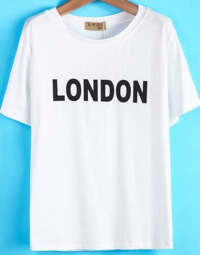White Short Sleeve LONDON Print Loose T-Shirt