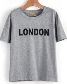 Grey Short Sleeve LONDON Print Loose T-Shirt