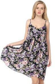 Black Spaghetti Strap Floral Pleated Chiffon Dress