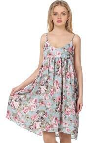 Blue Spaghetti Strap Floral Pleated Chiffon Dress