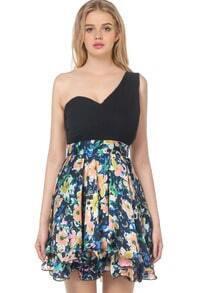 Black One Shoulder Contrast Floral Chiffon Dress