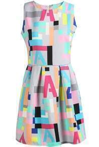 Grey Sleeveless Vintage Geometric Letters Print Dress