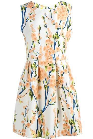 White Sleeveless Plum Flower Print Slim Dress