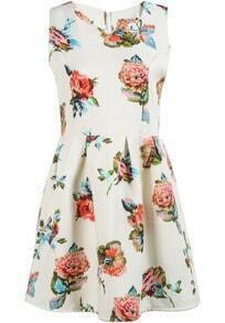 White Sleeveless Pink Floral Slim Dress