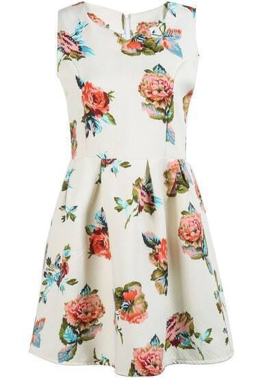 White Sleeveless Pink Floral Slim Dress