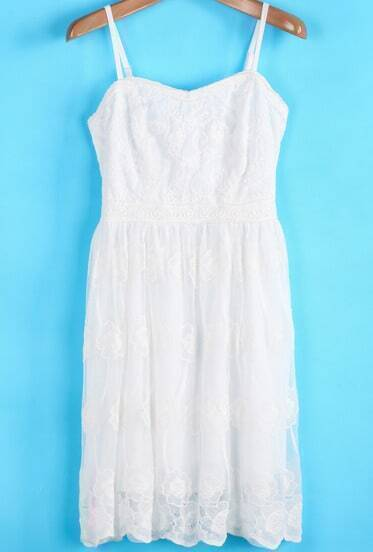 White Spaghetti Strap Embroidered Pleated Dress