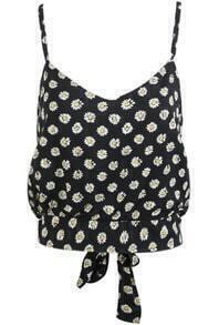 Black Spaghetti Strap Daisy Print Crop Vest