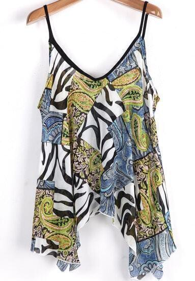 Blue Spaghetti Strap Zebra Print Loose Vest
