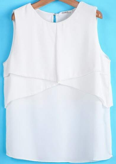 White Sleeveless Simple Design Chiffon Vest