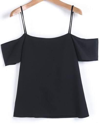 Black Spaghetti Strap Off the Shoulder Vest