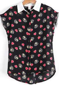 Black Lapel Eyes Hearts Print Chiffon Blouse