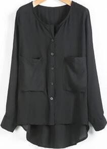 Black Long Sleeve Pockets Loose Chiffon Blouse