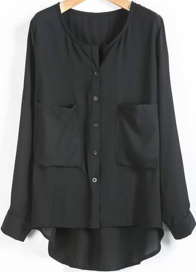 Black Long Sleeve Pockets Loose Chiffon Blouse