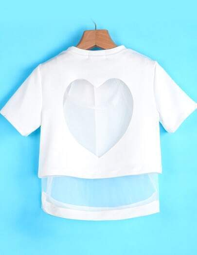 White Short Sleeve Hollow Heart Two Pieces Top