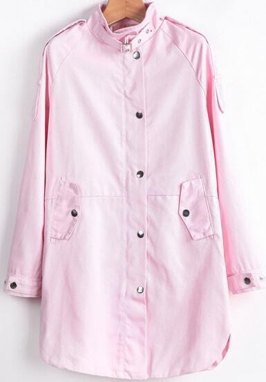Pink Stand Collar Long Sleeve Buttons Coat