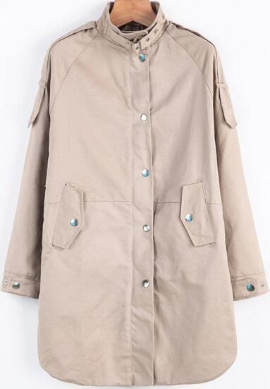Khaki Stand Collar Long Sleeve Buttons Coat