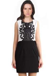 Black White Sleeveless Embroidered Bodycon Dress
