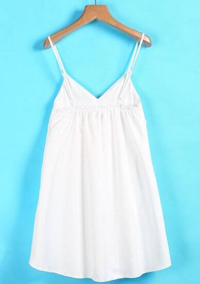 White Spaghetti Strap Ruffle Pleated Dress