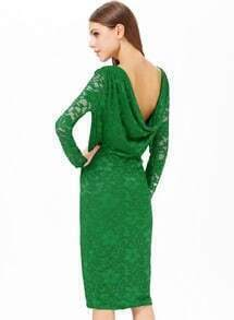 Green Lace Embroidery Backless Split Dress