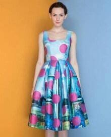 Blue Sleeveless Polka Dot Vintage Pattern Ruffle Dress