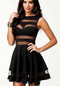 Black Sleeveless Contrast Mesh Yoke Bandage Dress