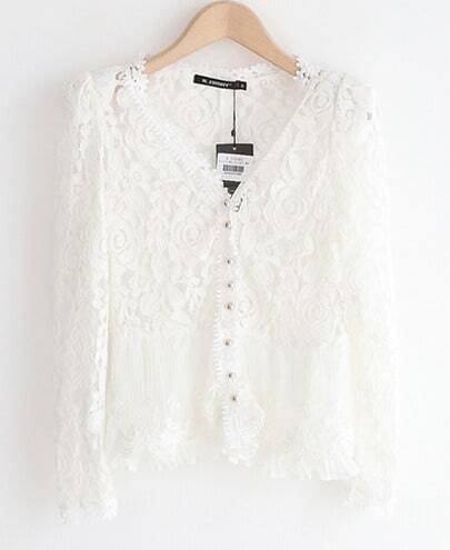 White Long Sleeve Lace Ruffle Blouse