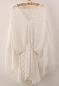 White Batwing Sleeve Pleated Chiffon Jumpsuit