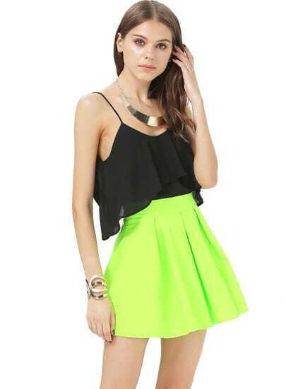 Fluorescence Green Ruffle Skirt