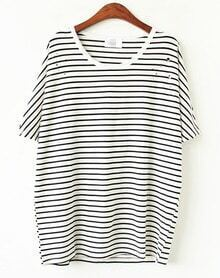 White Black Striped Hollow T-shirt