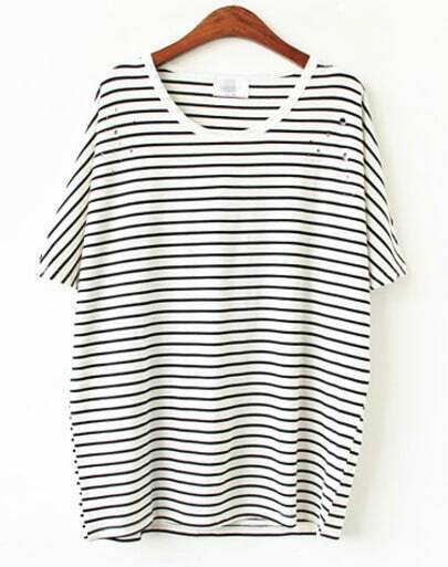 White Black Striped Hollow T-shirt