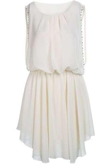 Apricot Sleeveless Bead Elastic Waist Chiffon Dress