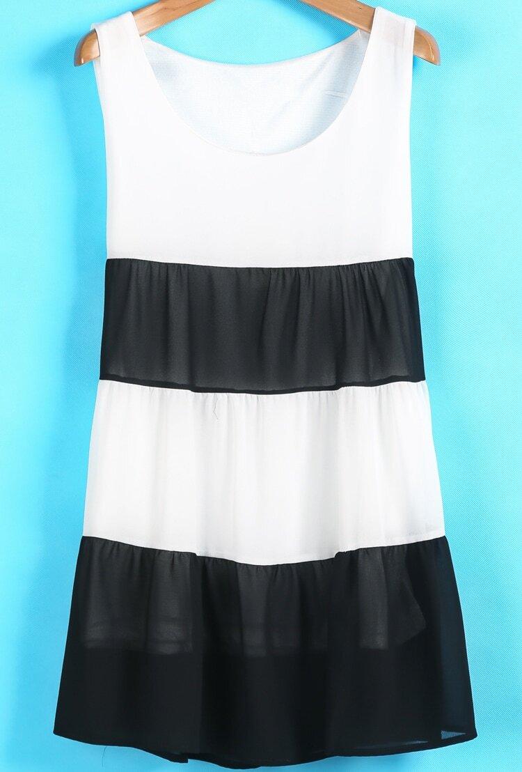 Striped sleeveless black short chiffon round neck pleated black white