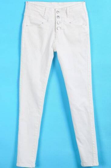 White Buttons Pockets Denim Pant
