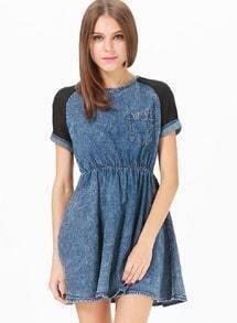 Blue Contrast Short Sleeve Denim Skater Dress
