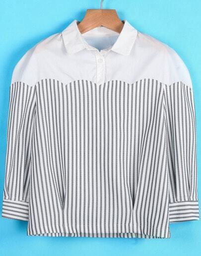 White Contrast Vertical Stripe Long Sleeve Blouse