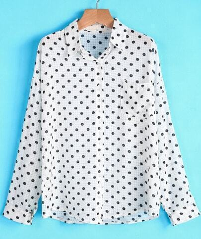 White Long Sleeve Polka Dot Loose Chiffon Blouse