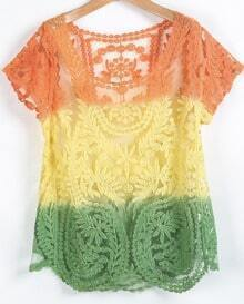Yellow Short Sleeve Hollow Embroidered Blouse