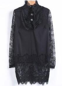 Black Contrast Lace Mesh Yoke Long Sleeve Dress