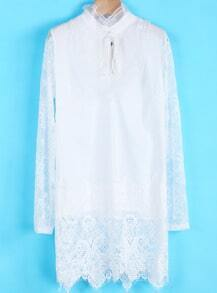 White Contrast Lace Mesh Yoke Long Sleeve Dress