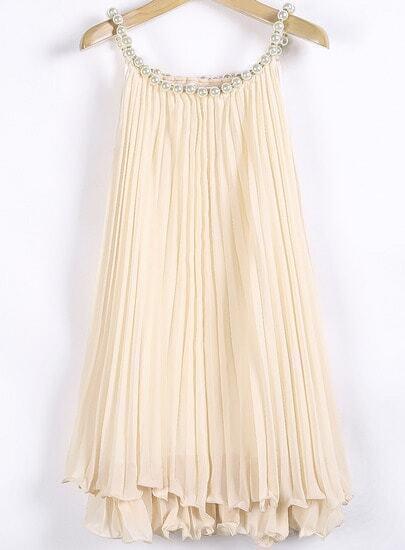 Apricot Bead Pleated Chiffon A Line Dress