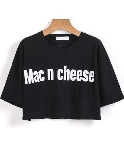 Black Short Sleeve Mac n cheese Print Crop T-Shirt