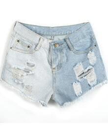 Light Blue Ripped Fringe Denim Shorts
