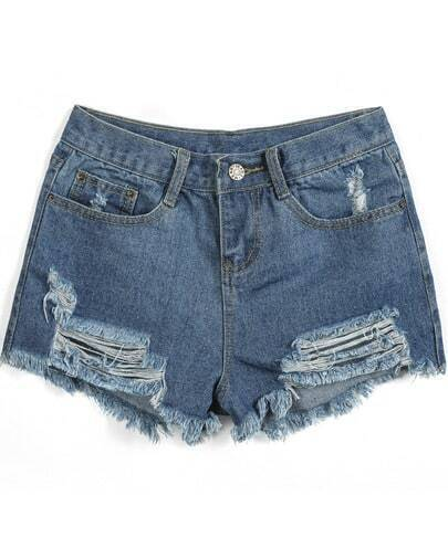 Navy Ripped Fringe Pockets Denim Shorts