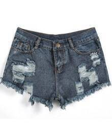 Navy Fringe Ripped Denim Shorts