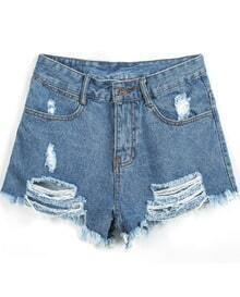Blue Ripped Fringe Denim Shorts